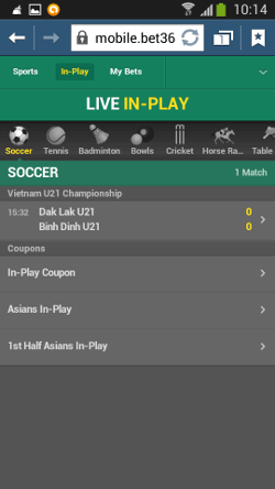 Bet365 mobile LIVE in-play feature