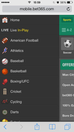 bet365 mobile app on Iphone
