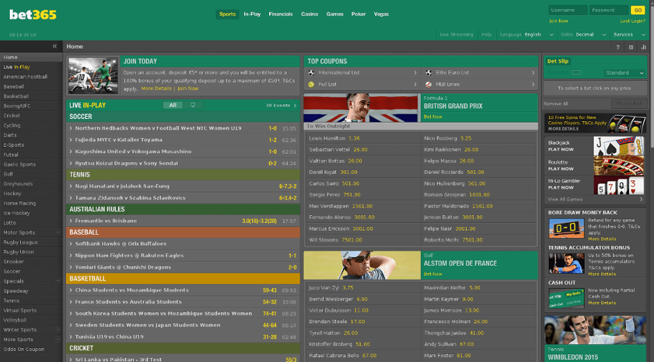 Bet365 website interface