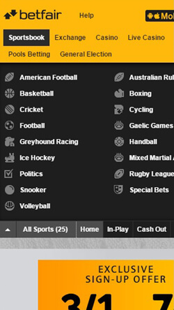 Betfair application for Iphone