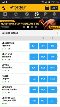 Betfair Football Section on Android Device