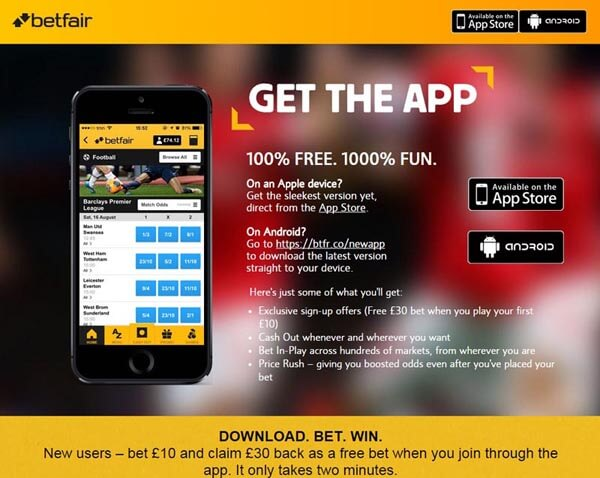 betfair mobile app for iOS and Android
