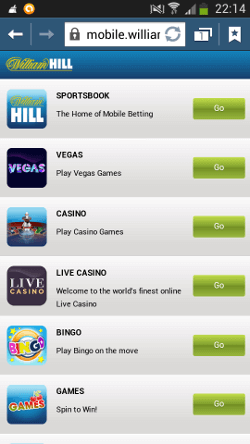 William Hill App on Android preview