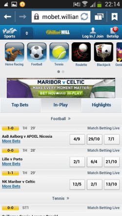 Mobet Will Hill LIVE in-play Android
