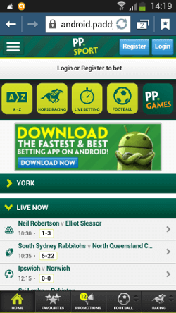 Paddy Power мobile on Android device