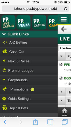 Paddy Power application on Iphone
