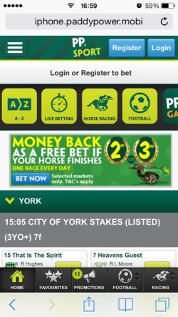 PP mobile free bets offer