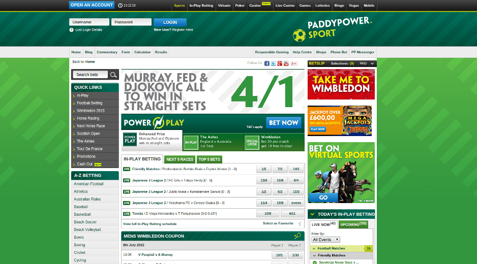 paddy power website menu
