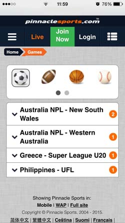 Iphone app and sports list