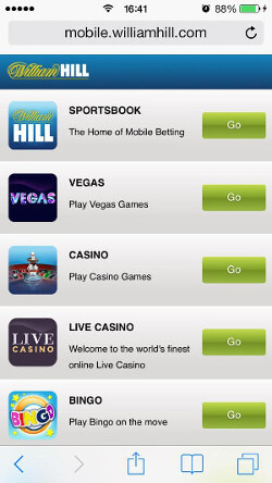 William Hill Mobet on Iphone