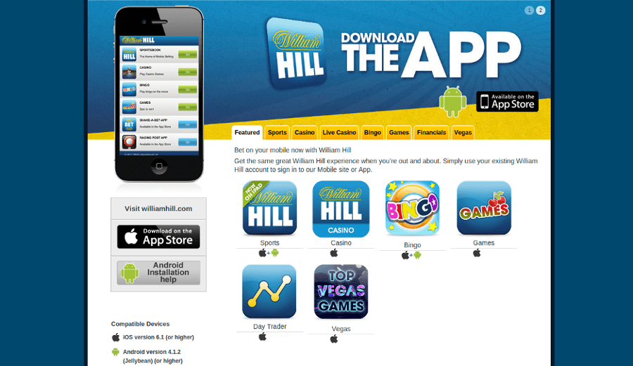 William Hill Mobile version and Application