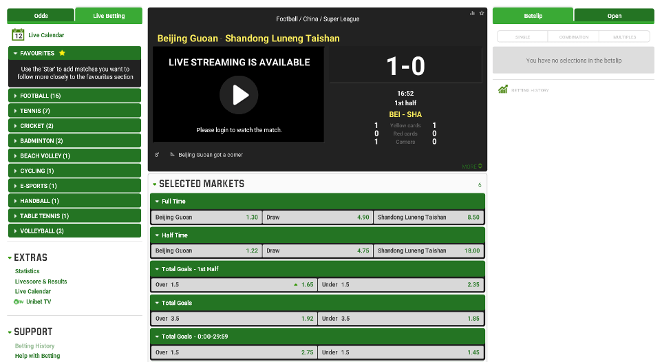 Unibet live betting