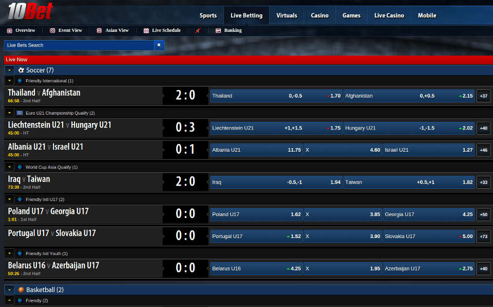 live betting option -10bet