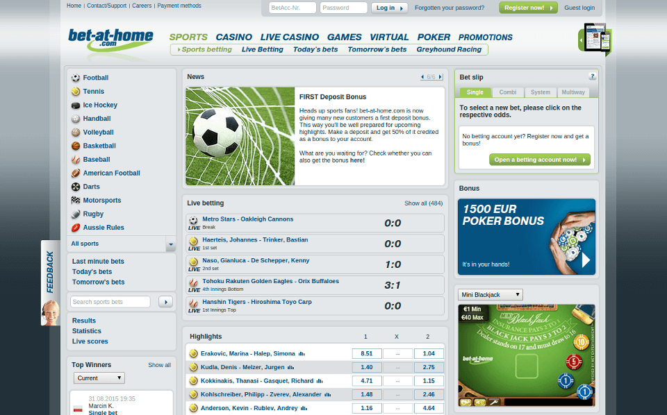 Bet-at-home website overview