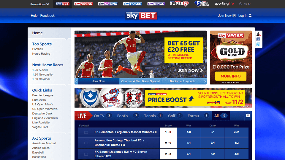Sky Bet website preview