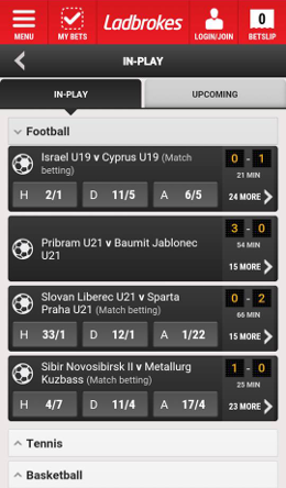 inplay feature on android app for  ladbrokes
