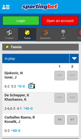sportingbet android app inplay