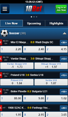 10bet iOS live option