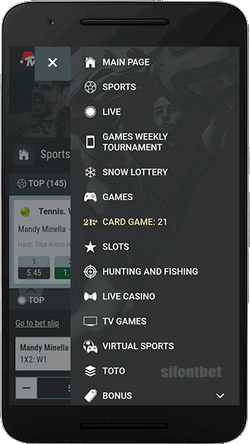 MELbet mobile menu for Android