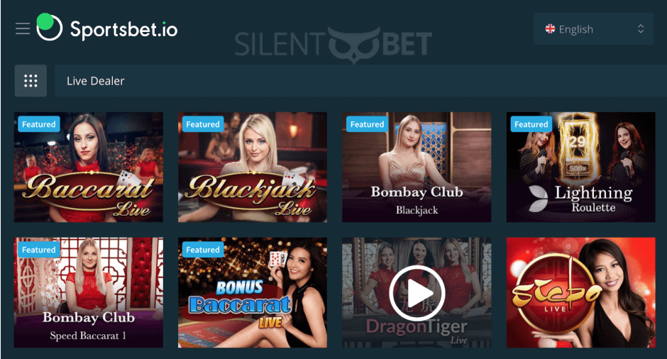 preview of the live casino section at sportsbet.io
