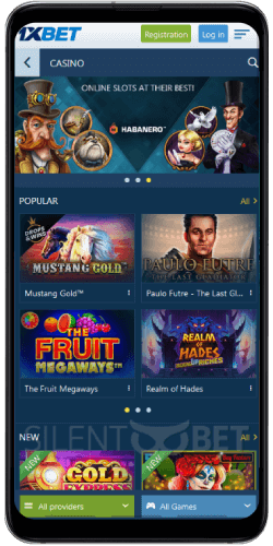 Slots in 1xBet app for Android