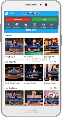 Live casino in Sportingbet's Android app