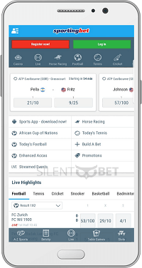 Sports section in Sportingbet's Android app