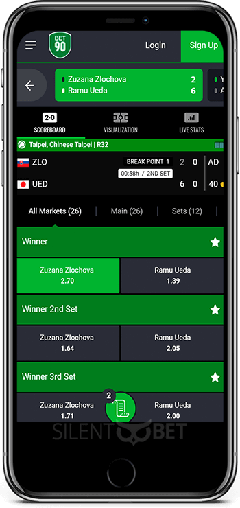 Bet90 mobile app for iPhone
