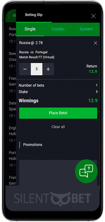 Bet90 mobile betslip for Android