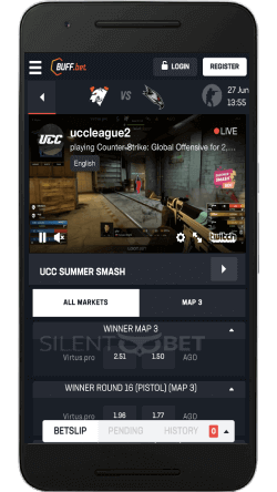 buffbet mobile live betting page on android