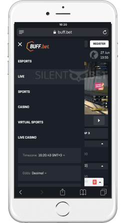 buffbet mobile menu on an iphone