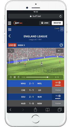 buffbet mobile virtulas section on iphone