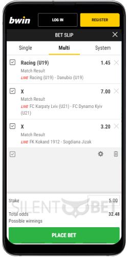 The Betslip in Bwin's Android App