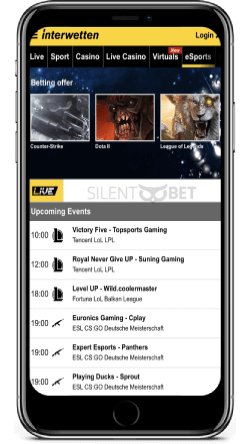 Interwetten mobile esports section on iPhone