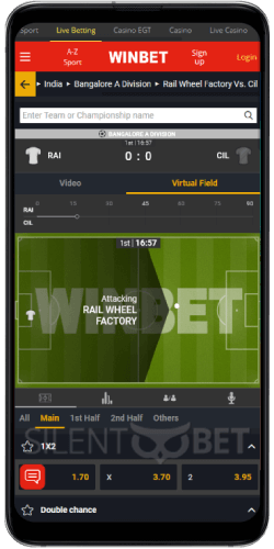 In-Play section in Winbet's Android app