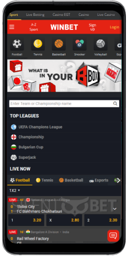 Sports section in Winbet's Android app