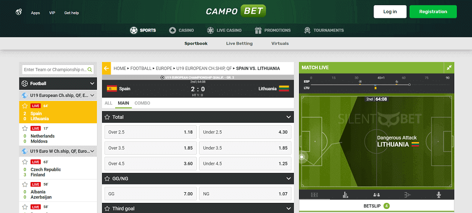 CampoBet live betting page