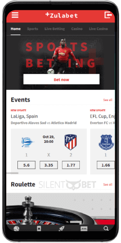 ZulaBet mobile betting thru Android