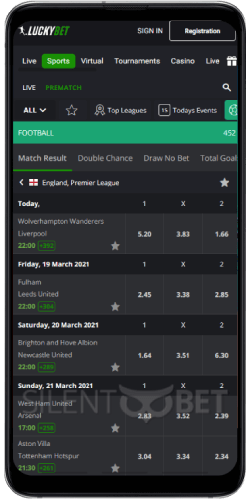 Luckybet mobile football thru Android
