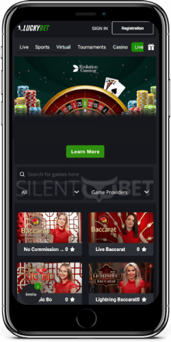 Luckybet mobile live casino on iPhone