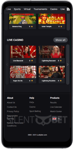 Luckybet mobile menu Android