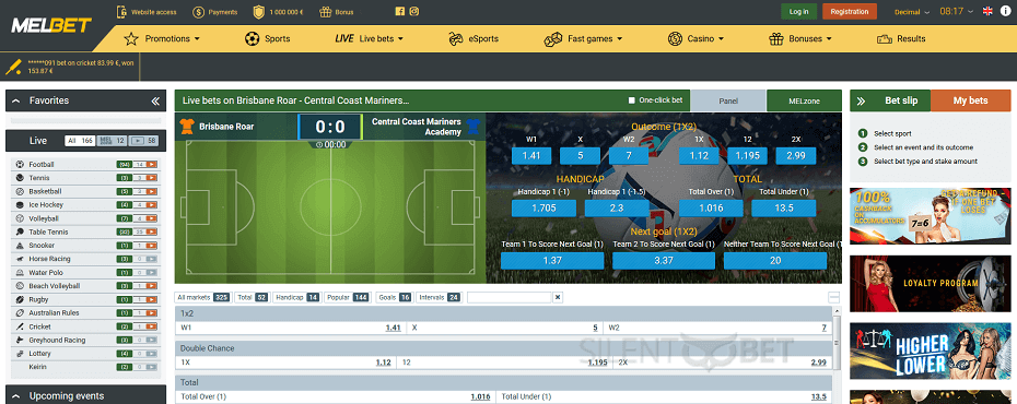 Melbet live betting in-play