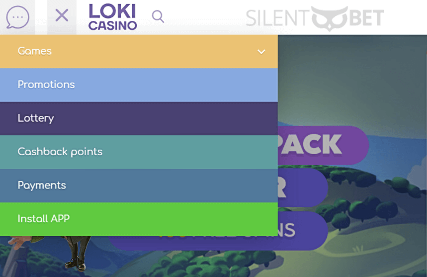 loki casino menu