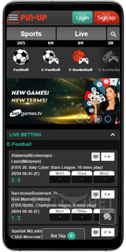 Sports section in Pin-up Android app