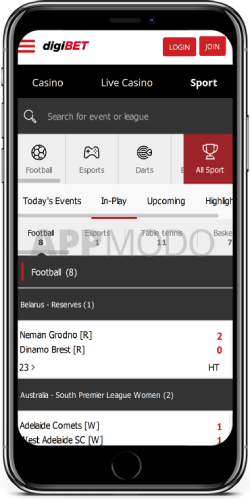 Digibet Live Sports on ios
