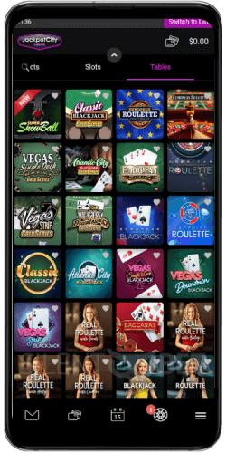 Jackpotcity table games on Android