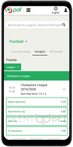 Paf Sports on Android