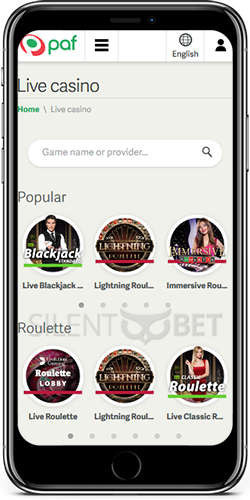 Paf Live Casino on iOS