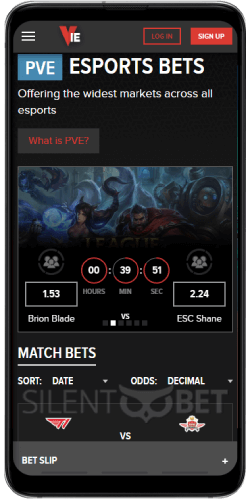 Match betting in Vie.gg Android app