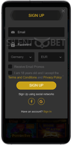 Golden Star Casino SignUp on Android